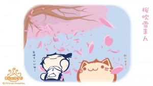 出張ねこまん~04.桜吹雪まん~