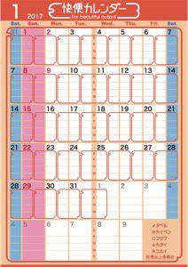 快便カレンダー2017年1月号サンプル